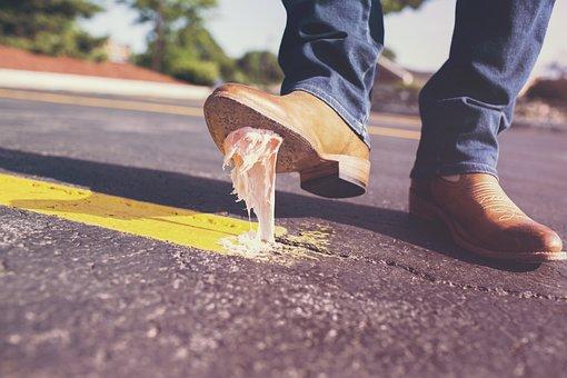 Bubble Gum, Shoes, Glue, Dirt, Bubblegum, Sticky, Stick