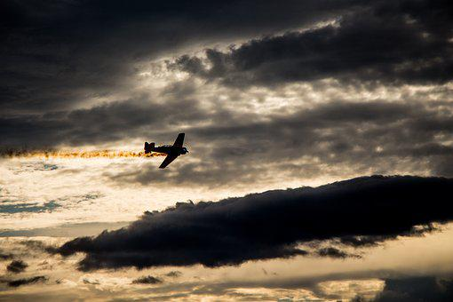 Sunset, Silhouette, Airplane, Plane, Flight, Clouds