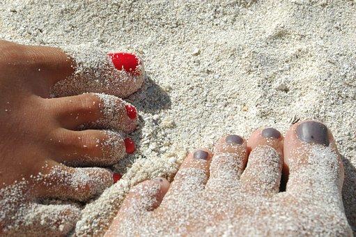 Feet, Sand, Nails, Varnish, Beach, Legs, Relaxation