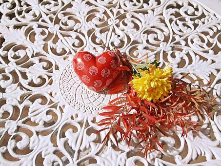 Heart, Red, Iron Lace, White, Flower Bunch, Leaves