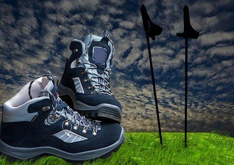 Hiking Shoes, Sticks, Hiking, Trekking, Nordic Walking