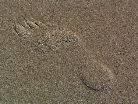 Footprint In The Sand, Traces, Sand, Beach, Imprint