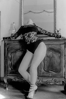 Leg, Thigh, Black And White, Under Garment, Lace