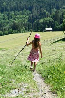 Person, Human, Child, Girl, Walk, Hiking, Stick And Hat