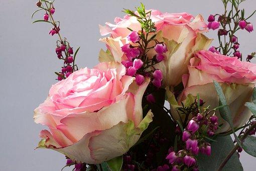 Bouquet, Rose, Erika, Flower, Composites, Autumn