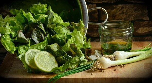 Green Salad, Plucking Salad, Lettuce Leaves, Salad