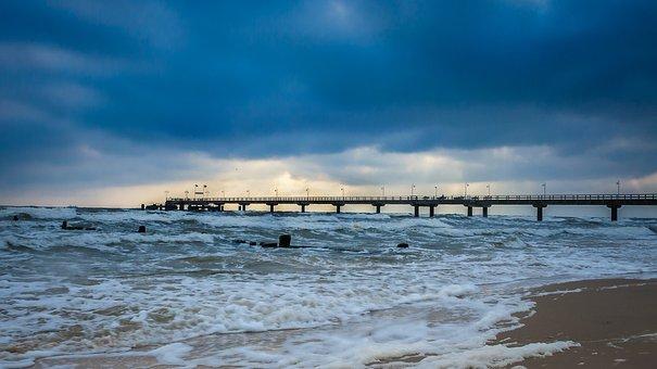 Sea Bridge, Bansin, Clouds, Usedom, Baltic Sea, Sea