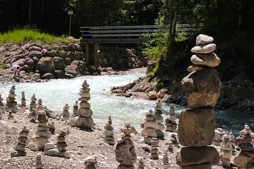 Stone Park, Stones, Stack, Stacked Stones, Shaky, Water