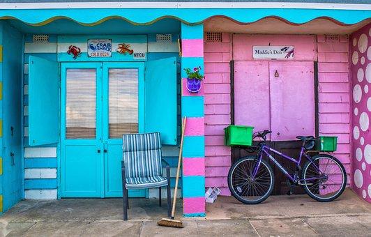 Beach, Hut, Blue, Travel, Summer, Building, House, Wood