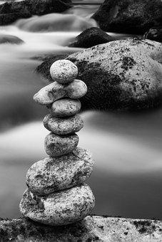 Stones, Stack, Black White, Zen, Rock, Balance, Nature