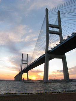 Yellow Sea Bridge, Bridge, Sunrise, Sea, Port