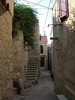 Croatia, Susak Island, Old Street, Mediterranean