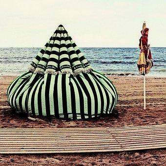 Beach, Trouville, Sea, France, Normandy