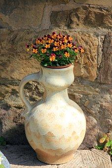 Vase, Flowers, Stiefmuetterechen, Spring