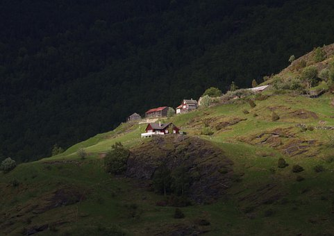 Norway, Flam, House, Landscape, Wilderness, Scenery