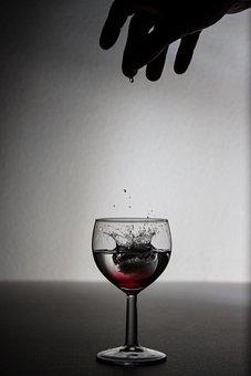 Drinking, Wine Glass, Ice, Icecube, Hand, Glass