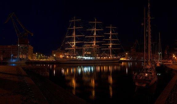 Aura River, Night Lights, Boat, Vessel, Ship