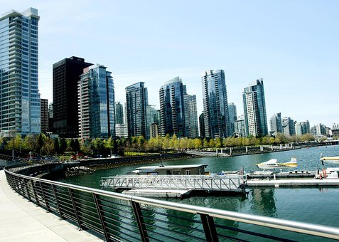 Vancouver, Harbor, Boats, City, Water, Cityscape