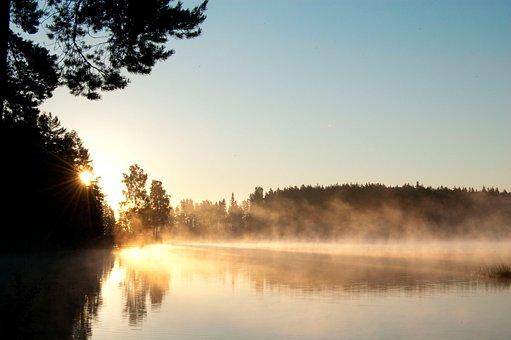 Water, Sunrise, Dis, Morgendis