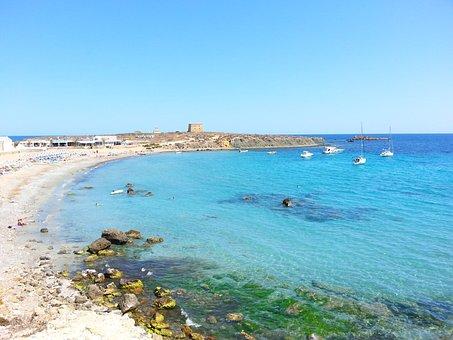 Beach, Tabarca Island, Sea, Blue, Boat, Landscapes