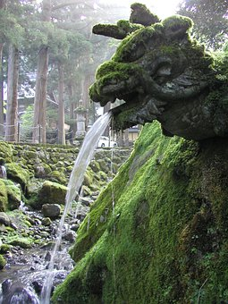 Japan, Zen, Dragon, Sculpture, Fountain, Moss, Eiheiji