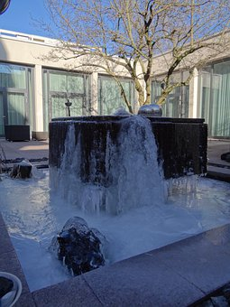Fountain, Water, Ice, Winter, Frozen, Cold