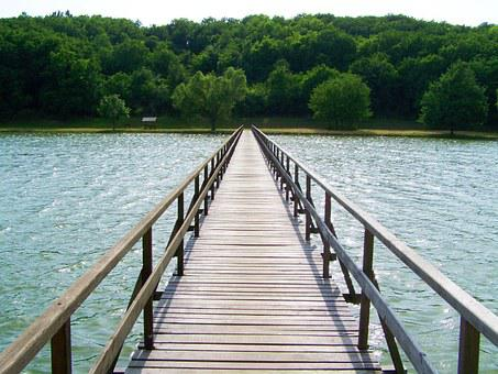 Wooden Bridge Over The Pond, Erdősmároki Pond, Hungary
