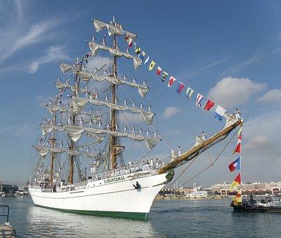 Sailors, Boat, Ship, Mexico, Valencia, Ship Cuauhtemoc
