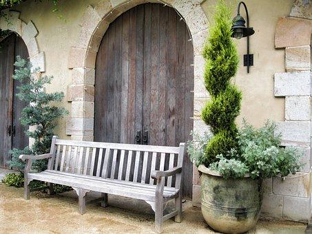 Wood Bench, Outdoor, Patio