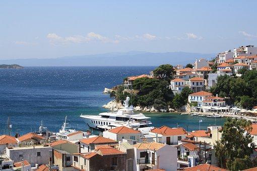 Island, Skiatos, Greece, Sea, Bay