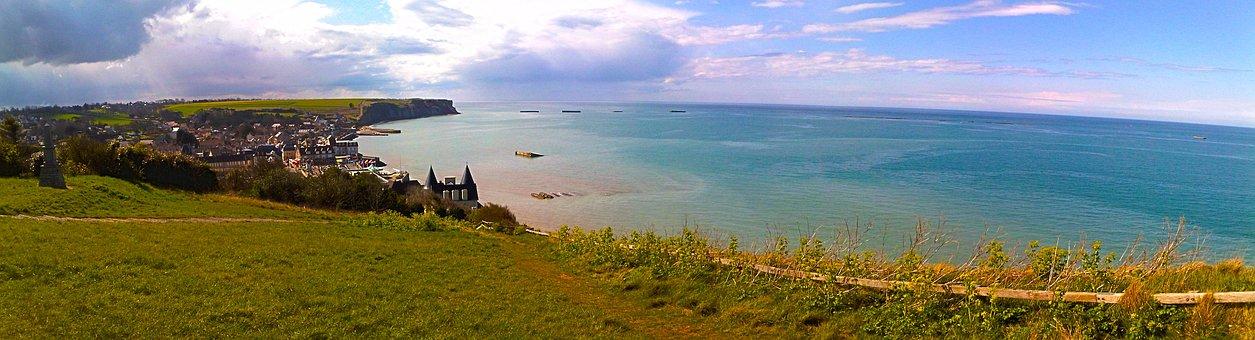 Panorama, Arromanches, Normandy, Sea, Ocean, Nature