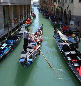 Venice, Gondola, Channel, Italy, Transport, Remo