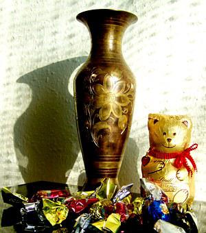Still Life, Light Shadow, Candy, Chocolate Teddy Bear