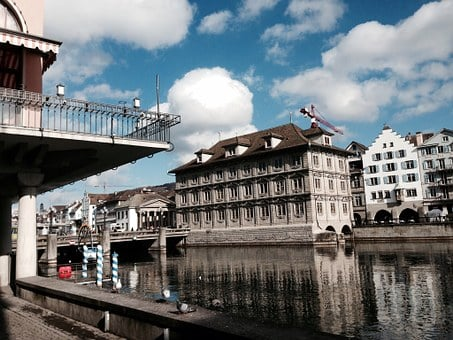 Zurich, River, Architecture, Switzerland, Nature