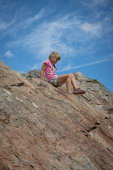 Child, Girl, Blond, Climb, Rock, Sky, Mountain Peak