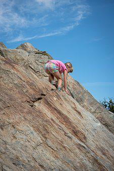 Child, Girl, Climb, Stone, Rock, Downhill, Steep, Sky