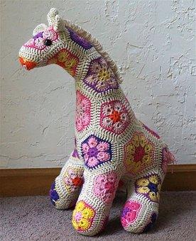 Jedi Crocheted Giraffe, African Flower Design