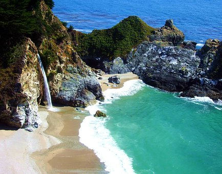Ca, Mcway Falls, Big Sur, Waterfall, Pfeiffer, Big