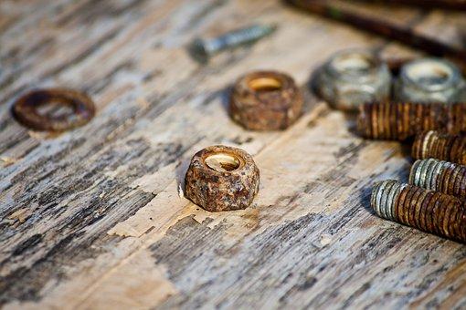 Nuts, Bolt, Rust, Wood, Steel, Screw, Old, Iron