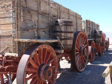 Borax Mine, Death Valley, Ca, Old, Wooden, Vagon