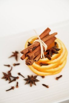Cinnamon Sticks, Star Anise, Orange Slices, Stack