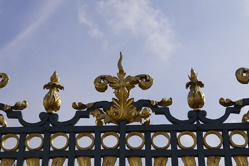 Fence, Gold, Iron, Forge, Metal, Grid, Golden, Pointed