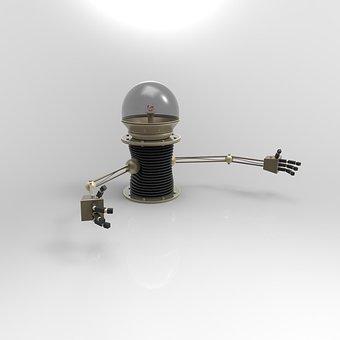 Robot, Hug, Steampunk, Future, 3d, Science Fiction