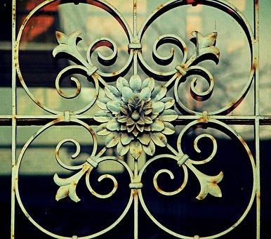 Ornament, Rosette, Fence, Metal Fence, Goal, Door, Rust