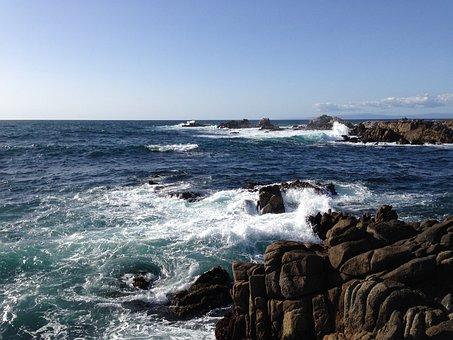 Ocean, Sea, Swirl, Pacific Grove, Monterey, Ca, Water