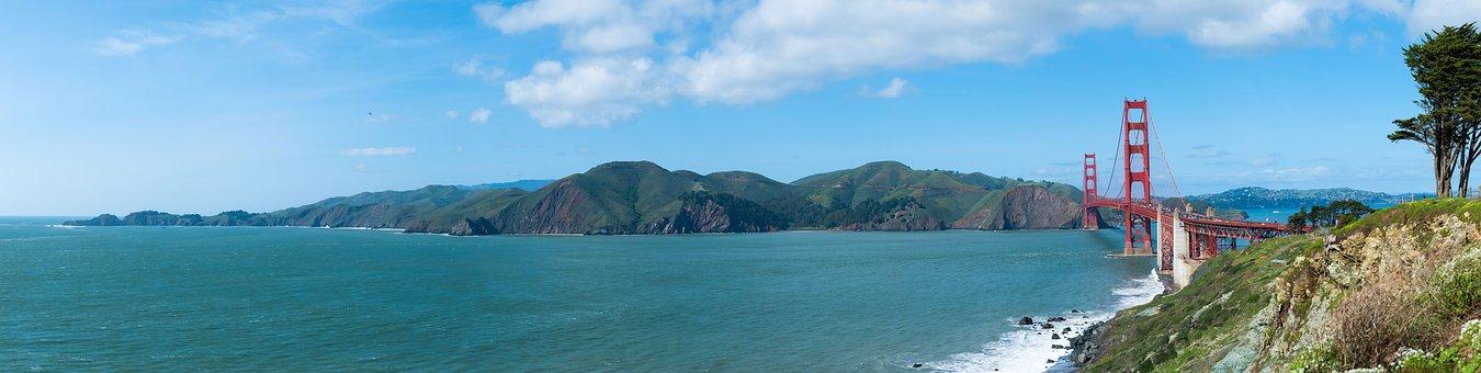 Golden Gate, Bridge, The Golden Door, Sea, Mountains