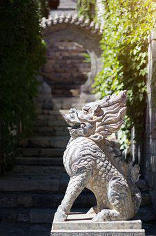 Dragon, Lion, Stone, Sculpture, Mythical Creatures