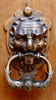 Knocker, Door, Brass, Uzes, France, Old, Metal, Lion