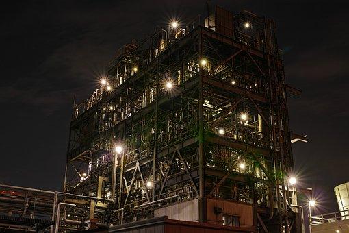Night View, Factory, Iron, Pipe, Building, Night