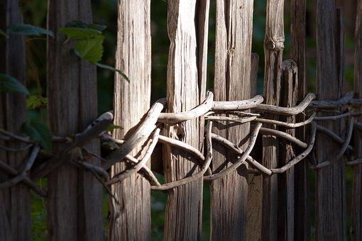 Fence, Wood, Wattle, Weathered, Wood Fence, Plank Fence